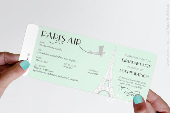 Paris theme party boarding pass invitation real airline ticket il570xn filmwisefo