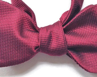 Silk Bow Tie for Men - Ruby - One-of-a-Kind, Handcrafted- Self-tie - Free Shipping