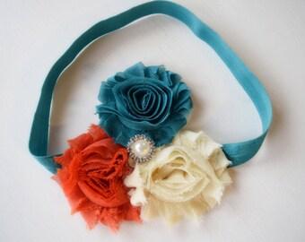 Surf and Turf - Yellow Sand Burnt Orange and Teal Headband - Summer Headband - Boho Headband - Baby Girl Headband - Adult Headband - Ocean
