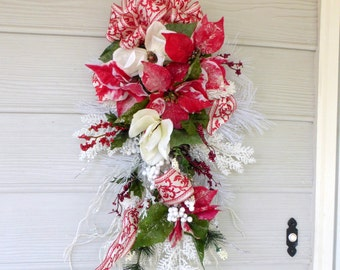 Christmas Door Swag - Red and Whiter Poinsettia door swag - Christmas Decor - Holiday door swags - Christmas Wreath  Wreaths-Holiday Decor