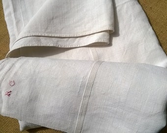 Antique Off White French Ribbed Linen Bedspread Panel Throw Tablecloth