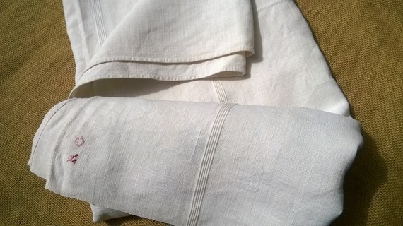 Antique Off White French Ribbed Linen Bedspread Panel Throw Tablecloth #sophieladydeparis