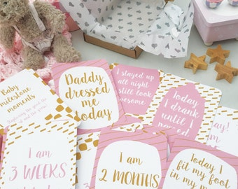 32 Alternative Baby Milestone Cards / funny baby moments / First 0-12 months / Free UK Delivery