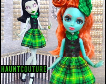 "Monster Doll ""St. Patrick's Day Ghoul"" high fashion plaid dress"
