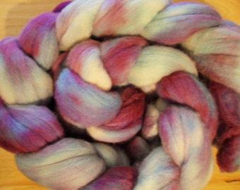 "Hand Dyed Merino Roving, 3.88oz ""Purple Petals"""