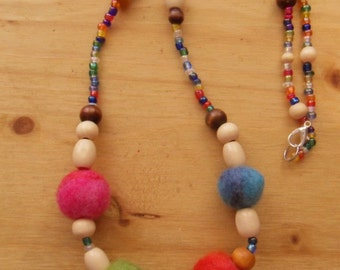 Felted Bead Necklace- Multi Colored