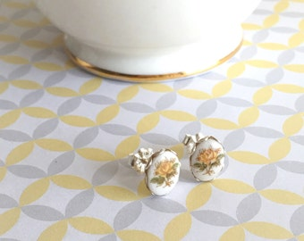 Yellow Floral Studs | Yellow Rose Earrings | Floral Girl Earrings | Floral Limoges Jewelry | Tiny Stud Earrings | Small Silver Jewelry |