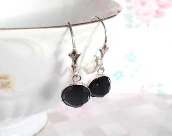 Black Onyx Earrings | Onyx Dangle Earrings | Silver Onyx Earring | Black Onyx Gemstone | Rose Cut Black Onyx | Black Drop Earring | Gemstone