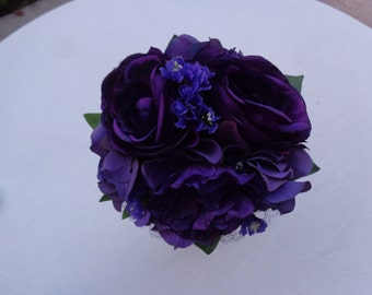 Flower girl bouquet designed in shades of purple