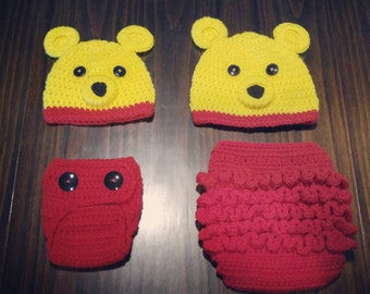 Winnie the Pooh Hat and Diaper Cover Set