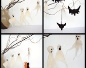 Halloween set of needle felted ghosts and bats