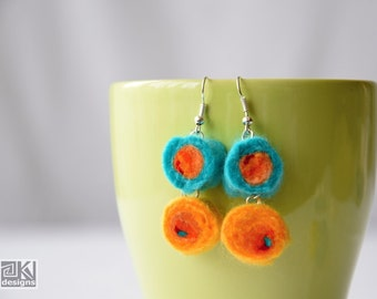 Turquoise felt balls, Felted earrings, Yellow wool beads, Needle felted wool, Turquoise and Orange, Orange and Yellow, Summer fun felties