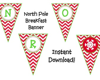 Instant DL North Pole Breakfast Christmas Banner