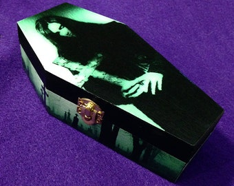 Peter Steele - Type O Negative - Wood Coffin Keepsake Trinket Smoke Stash Box - Bloody Kisses