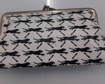 Vintage plastic jaguar print clasp purse