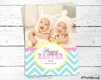 Easter Photo Card // Personalized Printable Mint Chevron Easter Spring Greeting Photo Card // Easter Card // Photo Card // Photo Card