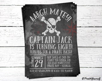 Pirate Invitation // Personalized Printable Chalkboard Pirate Bash Birthday Invitation // Pirate Invite // Pirate Party // Pirate Bash