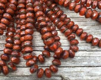 5x3 orange brick rondelles, czech glass beads, 5x3 faceted rondelles