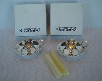 ON SALE - Pair of Silver Plate Chambersticks, Complete with Original Boxes and Candles, International Silver Company