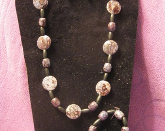 SHADES of GRAY MARBLE Round Jewelry Set