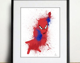 Original Spider-Man Art Print - Home Decor, Splatter Art Print
