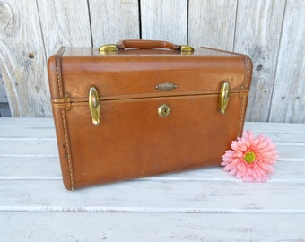 Vintage Samsonite Suitcase Train Case Brown Trunk Box  Home Decor Photo Prop Wedding Card Keepsake Party Distressed Travel  Country