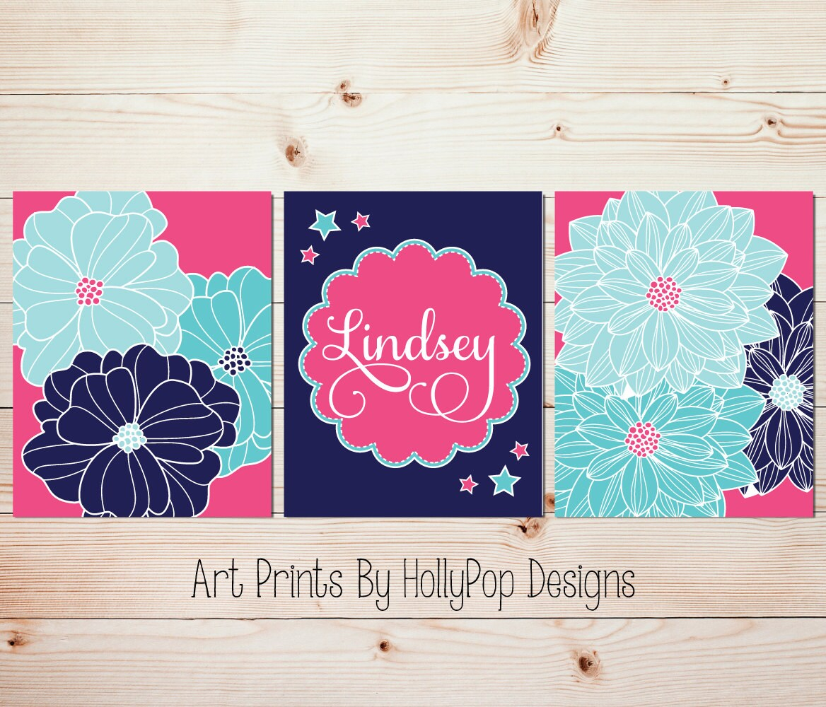 Girl bedroom wall art nursery decor pink navy aqua art prints for Pink wall art