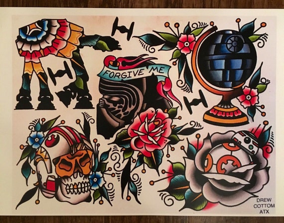 Star Wars Tattoo Flash Sheet by DrewCottomArt on Etsy