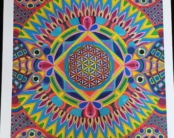 Flower Of Life Mandala Watercolor Painting Visionary Art Print Sacred Geometry