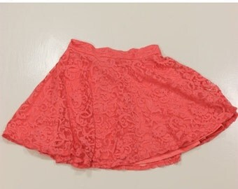 VALENTINES 50% OFF Size XS/S Vintage Pink Lace Skirt 26 inch waist 16 inch length