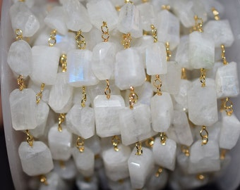 Natural Rainbow moonstone Wire Wrapped Beaded and Laser cut nuggets Chain 7-10 mm, Moonstone tumble Wire Wrapped Rosary chain -51AA56