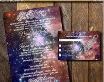 Printable Glowing Galaxy Wedding Invitation suite,Orion Nebula, Space theme invitations,Wedding set, Gallifreyan symbol,  RSVP