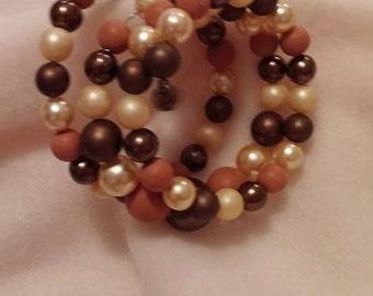 Vintage Costume Wire Peari & Crystal Bracelet  ( Brown Tones )