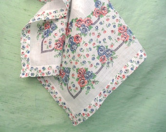 Blue and pink floral handkerchief / vintage hankie