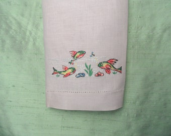 Grey linen embroidered fish guest hand towel  AS IS / vintage, retro bath towel