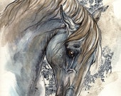Original gilded pen and watercolour painting of an andalusian horse