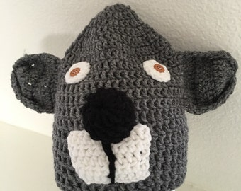 crochet gray Koala beanie for kids #PGG00081