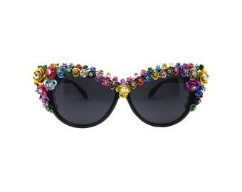 Women's Colourful Flower Cat-eye Swarovski Handmade Statement Sunglasses -  BRAMBLE