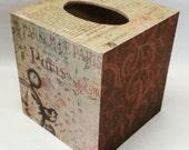 Handmade Decoupage Wood Tissue Box, Paris, Parfum De Paris, Haute Coutore