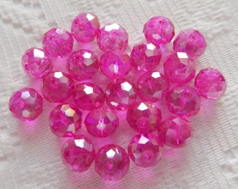 24  Hot Pink Fuchsia Magenta AB Rondelle Crystal Beads  8mm x 6mm