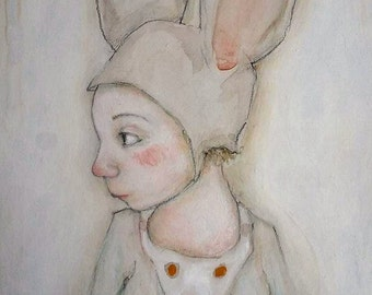 Mouse girl with bird, original painting