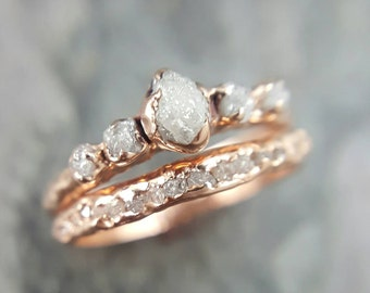 custom raw diamond rose gold engagement ring rough gold wedding dainty delicate ring diamond wedding ring - Wedding Rings Rose Gold