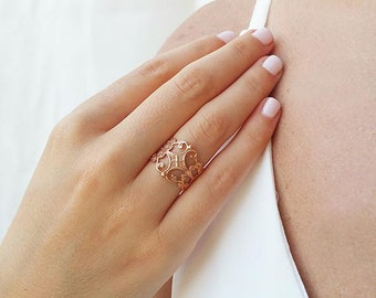 Rose gold band ring Etsy
