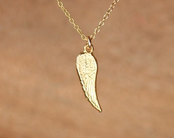 Tiny gold wing necklace - angel wing necklace - guardian angel wing - fairy wing - a gold vermeil wing charm on a 14k gold vermeil chain