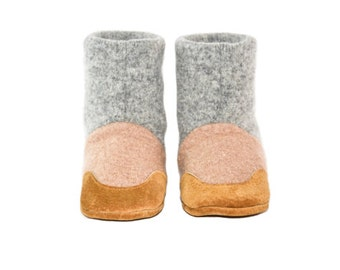 Wool Baby Shoes, Toddler Slipper Boots, Eco Friendly Wool And Soft Non Slip Leather Soles.  Sizes: 0-12M, 6-18M & 12-24M