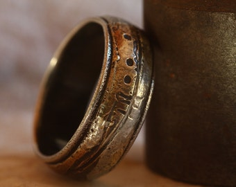 Rustic mans wedding band Playing with Fire engagement ring
