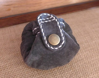 Leather Coin Purse, Coin Pouch, Coin Case, Coin Wallet, Suede, Dark Gray (ref113), Free Shipping within Australia