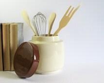 Vintage McCoy Cookie Jar - Kitchen Storage Container - Cream Kitchen Decor - McCoy 214 USA Ceramic Jar Kitchen Canister Chocolate & Vanilla