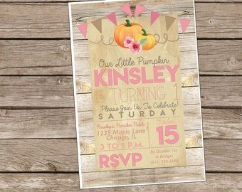Our Little Pumpkin Rustic Wood Birthday Invite