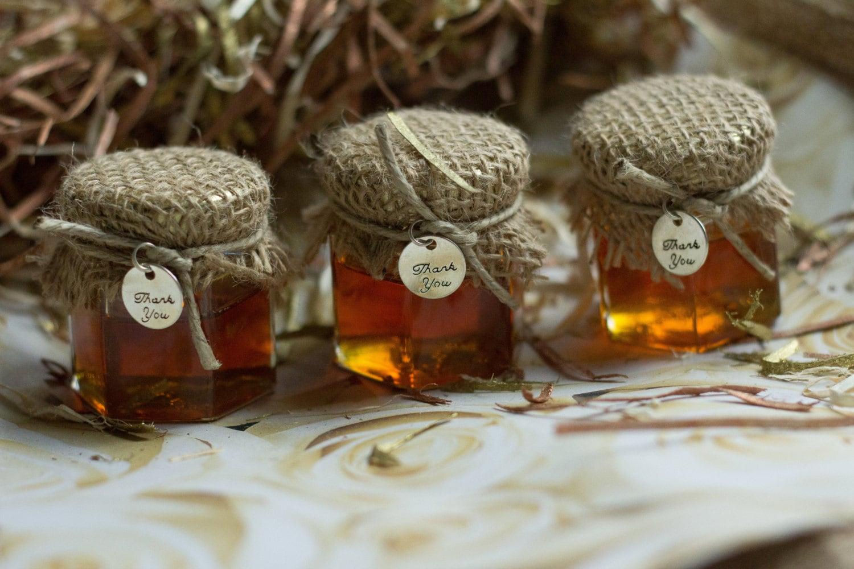Set of 12 2oz Honey Jar Favors Wedding Jar Favors Rustic
